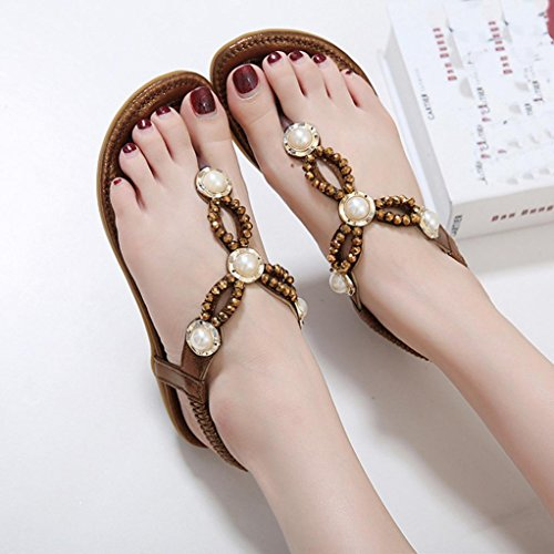 SHOBDW Bohemian Rhinestone Moda plana de gran tamaño Casual Sandalias sandalias mujer verano 2017 vestir Marrón