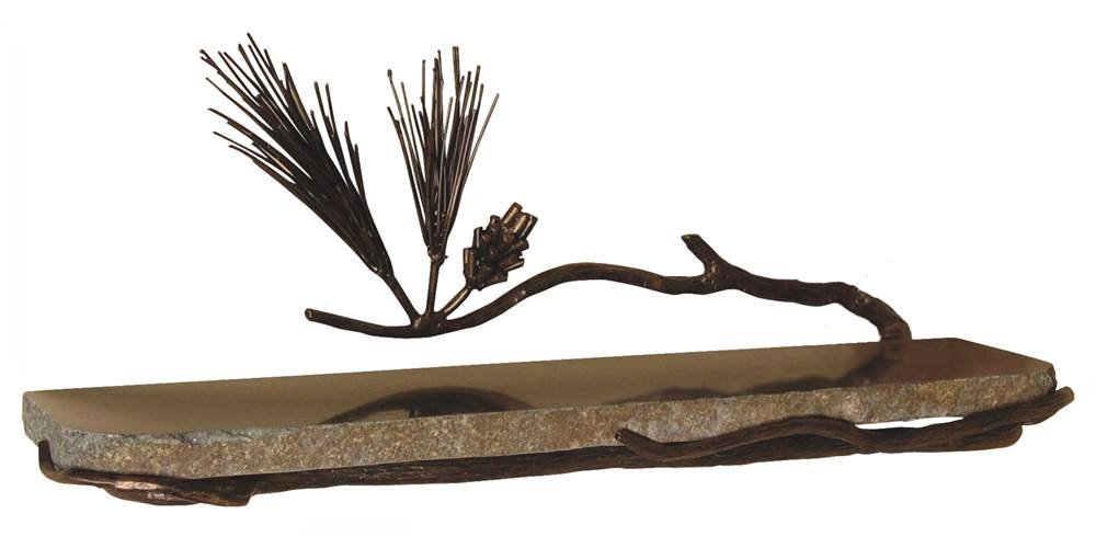 Pine Wall Shelf (Brown) by Quiescence Iron & Stone