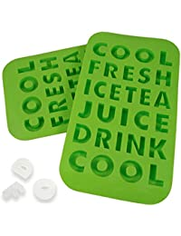 Gain 2 Letters Shaped Ice Cube Silicone Trays Words Molds Novelty Kids Drinks Party Fun compare
