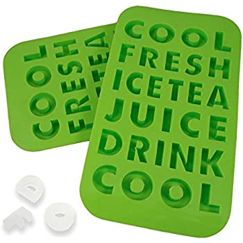 2 Letters Shaped Ice Cube Silicone Trays Words Molds Novelty Kids Drinks Party Fun