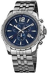Akribos XXIV Men's AK662BU Ultimate Swiss Quartz Chronograph Blue Dial Stainless Steel Bracelet Watch
