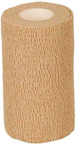 Medline Caring Self-Adherent Cohesive Wrap Bandage, Non-Sterile, Latex-Free, 2.2 yd x 5 yd, Tan (Case of 36) (Non Sterile Latex)