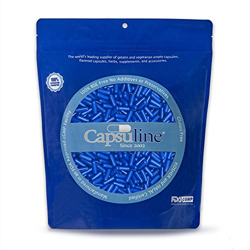 Colored Size 4 Empty Gelatin Capsules by Capsuline - Blue/Blue 1000 Count