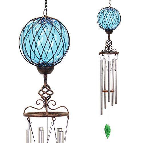 - Exhart Bronze Windchime w/Blue Solar Crystal Ball - Solar Glass Ball Garden Chimes w/Solar-Powered Lights in Bronze Metal Cage Finial Design - Hand-Blown Glass Orb, Tuned Windchimes, 5