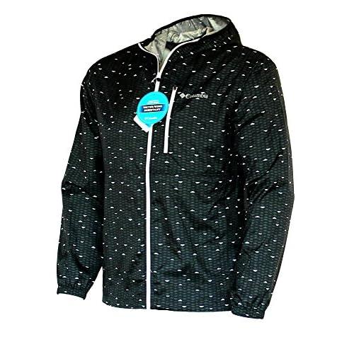 b6170655efab COLUMBIA MEN S MORNING VIEW WINDBREAKER hooded PRINTED black JACKET on sale
