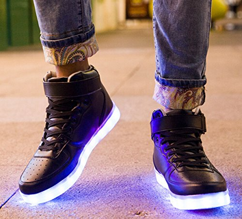 Top USB Sport Unisex Black Shoes Flashing Charging Adult High LED UDreamTime Sneakers wItFqCxH