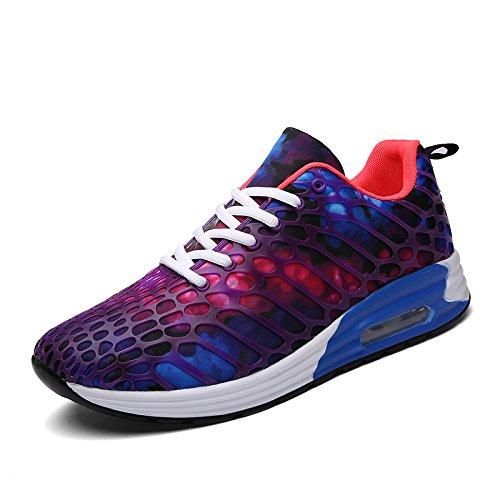 XIDISO Men Women Road Running Shoes Lightweight Athletic Walking Fashion Sneakers Purple