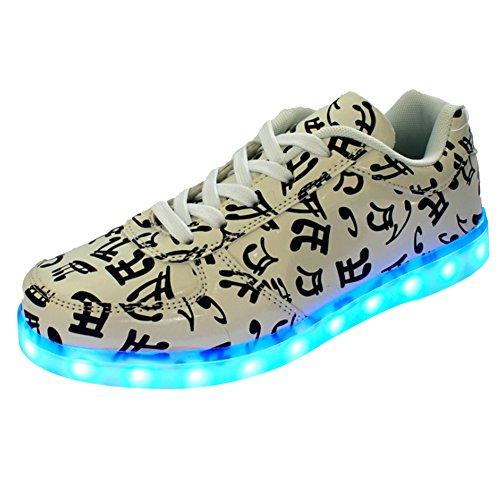 iiSport-Nouvelle collection 2016 printemps basket dessin note musicale chargement USB LED Light 7 Couleurs disponibles chaussures de sport pour unisexe Adulte Hommes Femmes