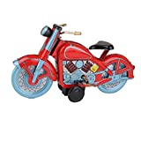 Red Motorcycle Wind Up Tin Toy