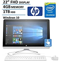 HP 21.5 Inch FHD IPS All-in-One Touchscreen Desktop Computer (Intel Celeron Quad Core 1.6GHz CPU, 4GB RAM, 1TB HDD, USB 3.0, Webcam, Wifi, DVD, Bluetooth, HDMI, Windows 10) (Certified Refurbished)