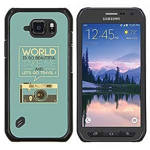 EJOOY---Cubierta de la caja de protección para la piel dura ** Samsung Galaxy S6Active Active G890A ** --Gráficos Retro Cámara Fotográfica Mundial texto