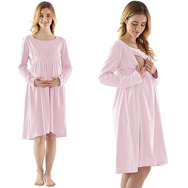 27098307a524f Keyocean Women's Maternity Nightgown, All Cotton Soft Breastfeeding  Nightgown, Long Sleeve Nursing Nightgown Pregnancy
