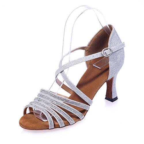 Baile 7 yc Zapatos Flash L Tacones Sandalias Mujer De White Latinas 5 Large Habitación Con Seda Yards Altos Fino ngt55pxw