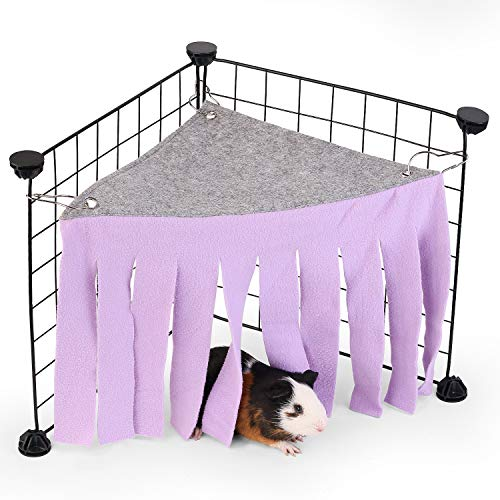 DOGIDOLI Purple Guinea Pig Hideout, Corner Fleece Forest Hideaway for Guinea Pigs, Ferrets, Chinchillas, Rats, Gerbils, Dwarf Rabbits & Other Small Animals Without Metal Fence