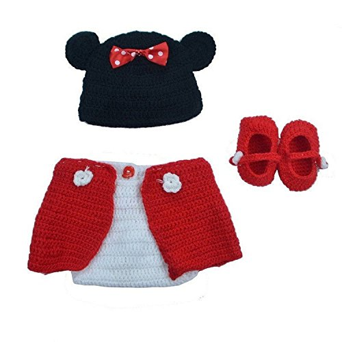 UniqueVC® Baby Knitted Crochet Photo Prop Clothes Outfits Minnie - Best Baby Cute Costume Photography for Baby Newborn Girl Boy 0-12 Months