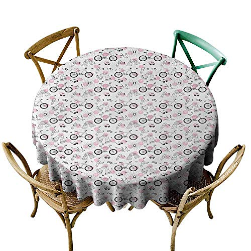 (Restaurant Table Cover Bicycle,Springtime Accessories Drawing Bicycle Scarf Headphones Dove and Olive Branch,Pale Pink Black,for Spring)