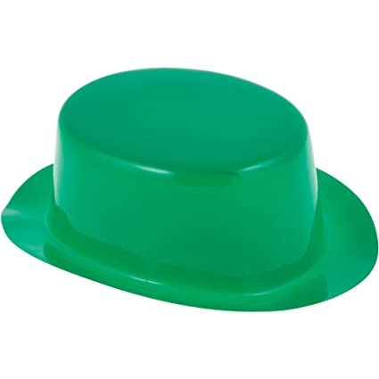 Creative Converting 093442 St Patricks Day Green Plastic Derby Hat Assorted