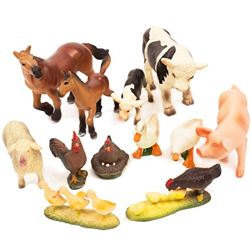Farm Figurine - BOLEY (12-Piece) Farm Animal Figurine Collection - Realistic Looking Farm Animals Ranging From Horses, Cows, Chickens, Sheep, Pig and Geese