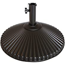 Abba Patio 50 lbs Round Patio Umbrella Base Recyclable Plastic 23.4 inch Diameter Outdoor Umbrella Stand Holder, Brown