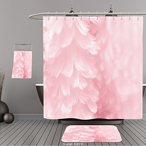 Uhoo Bathroom Suits & Shower Curtains Floor Mats And Bath Towels 368719742 Fluffy mauve pink feather fashion design background black and white tinted Valentine day fuzzy textured photograph soft foc