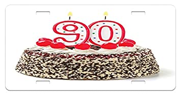 Ambesonne 90th Birthday License Plate Cake With Tasty Cherries Burning Candles And Number Ninety