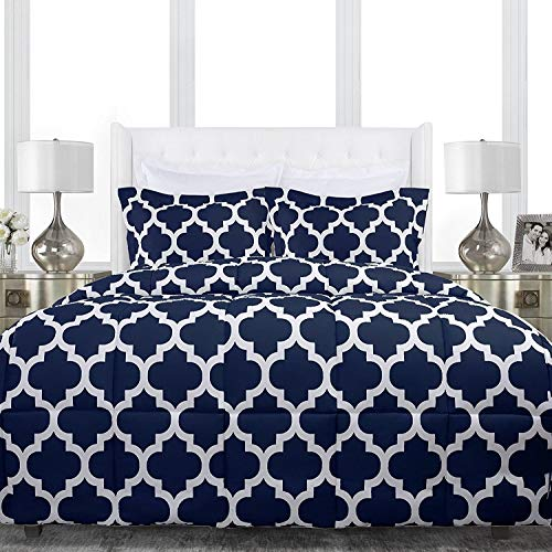 Sleep Restoration 2200 Series Luxury Goose downward alternative Quatrefoil Comforter Set - Premium Hypoallergenic All Season Duvet - Full/Queen - Navy