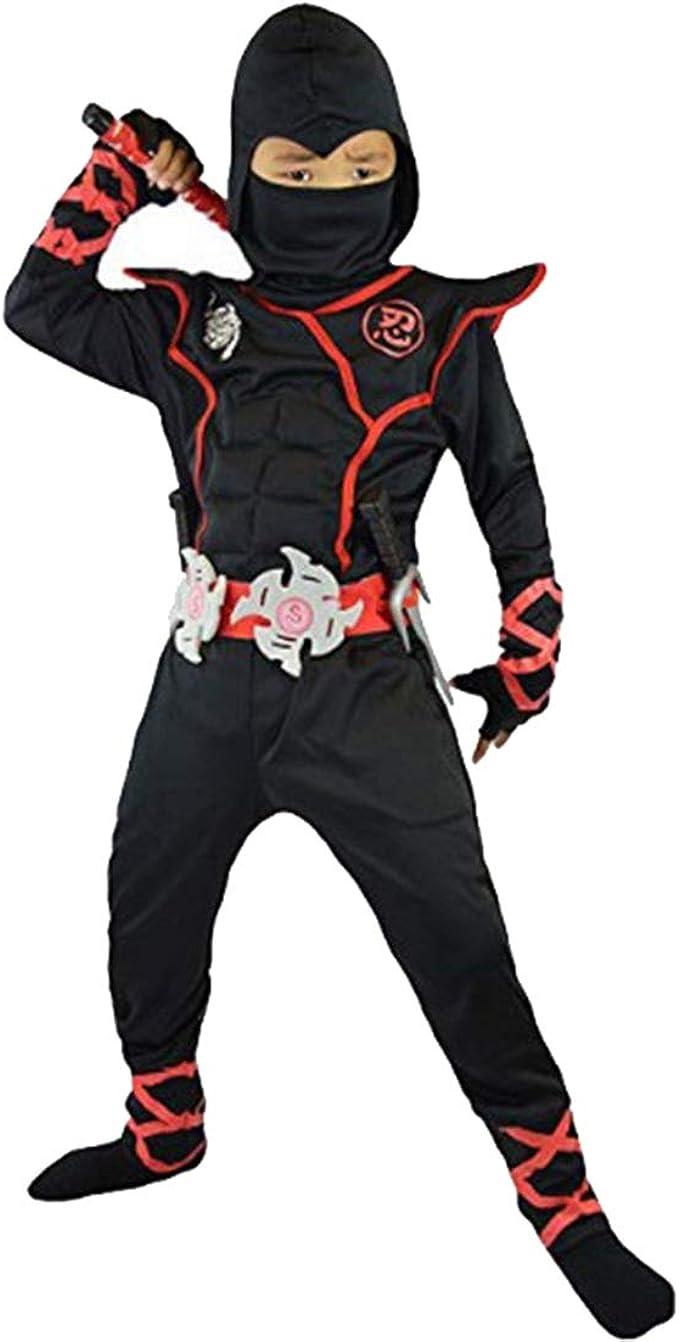 Disfraz de Ninja para Niños Traje de Halloween Rojo Negro con ...