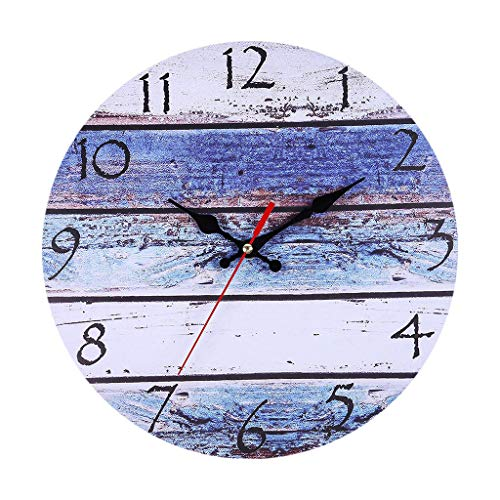 Pinleg Numerals Clock, Creative Vintage Rustic Wooden Wall Clock Antique Shabby Retro Round Frame with Retro Clock Home Kitchen Room Decor Silent Non-Ticking Wall Clock (C)