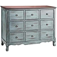 Stein World 12027 One 3-Drawer Chest with a Apothecary Inspired Design Finished in Moonstone  with a Wood Tone Top, 48 by 19.25 by 38.25-Inch, Blue