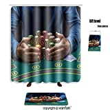 vanfan bath sets with Polyester rugs and shower curtain poker player taking poker chips after winning shower curtains sets bathroom 69 x 90 inches&31.5 x 19.7 inches(Free 1 towel and 12 hooks)