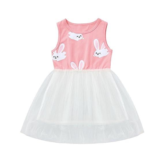 K-youth Vestido Bebe Niña, Tutú Princesa Vestido de Niña Ropa Bebe Niña Recien Nacido Bebé Conejo de Dibujos Animados Tul Vestido Niña Vestidos de Fiesta ...