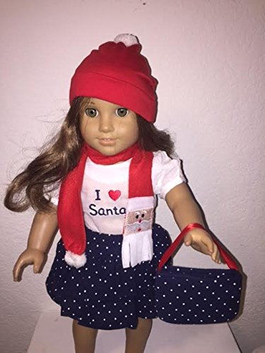 [Unique Doll Clothing Doll Clothes- Five Piece Santa Ruffled Skirt Outfit for 18