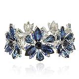 Women's Flower Blossom Glass Stone Fashion Stretch Bracelet in Navy