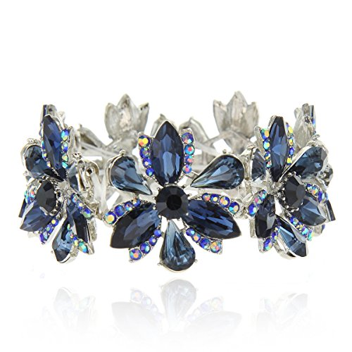 Women's Flower Blossom Glass Stone Fashion Stretch Bracelet in Navy by SP Sophia Collection