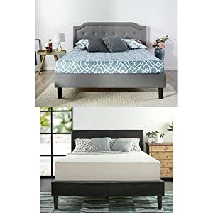 Zinus Upholstered Scalloped Button Tufted Platform Bed with Wooden Slat Support, King & Zinus Memory Foam 12 Inch Green Tea Mattress, King