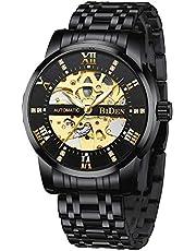Herren Uhren Automatikuhr Mechanische Skelett Glasboden Wasserdicht Männer Armbanduhr mit Edelstahl Armband