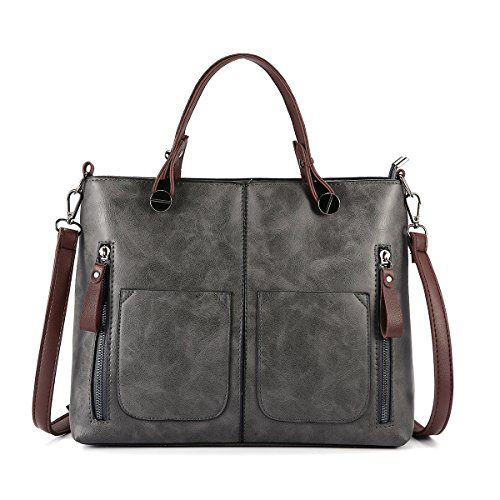 JOSEKO Top Handle Satchel Handbags, Women Retro Solid Tote Bags Dating Soft Leather Large Capacity Crossbody Bags Grey 12.25 inch(L) x 4.33 inch(W) x 9.84 inch(H) by JOSEKO