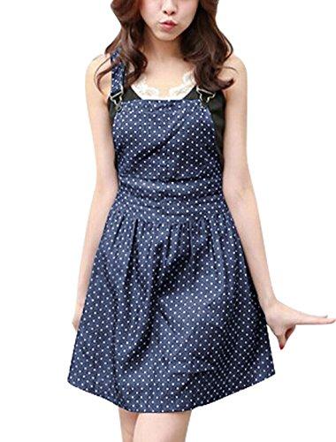 キュービック反対した単位[Allegra K] ドレス ワンピース Aライン つりスカート デニム ドット 夏 レディース ダークブルー M