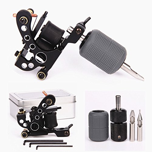 Tattoo Coil Machine 10 Wraps Coils Black Tattoo Machine Selflock Tattoo Grip 25mm Silicone Grips Cover 28mm Tattooing Tips 5F 5R Tattoo Kit for Liner Shader 2 Styles (Liner Kit) (Style Machine Gun)