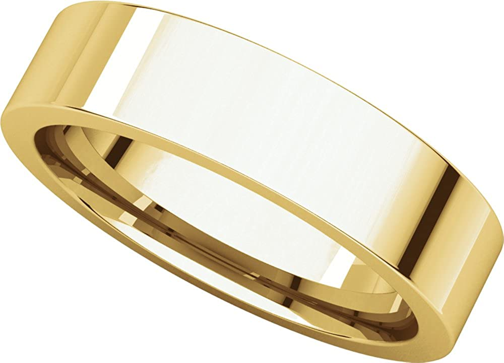 Mens 10K Yellow Gold 5mm Flat Comfort Fit Wedding Band Ring