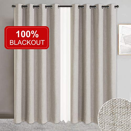 Primitive Linen Look,100% Blackout Curtains(with Liner)Linen Blackout Curtains& Blackout Thermal Insulated Liner,Grommet Curtains for Living Room/Bedroom,Burlap Curtains-Set of 2 Panels (50x84 Beige)