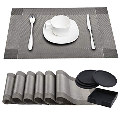CUGBO Placemats+Coaster Sets with Holder, 6 Pack Washable Heat Resistant Table Mats+4 Pack Black Round Silicone Cup Coaster Holder, Vinyl Table Pads for Kitchen Dinner Table Cup Mug Decoration(Grey) -