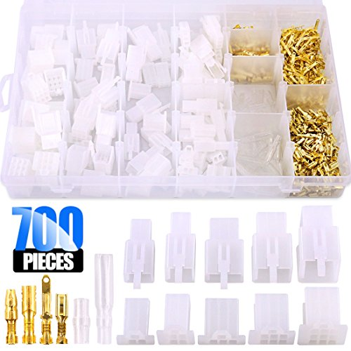 (Glarks 700Pcs 2 3 4 6 9 Pin Plug Housing Pin Header Crimp Electrical Wire Terminals Connector and 30 Sets 4mm Car Motorcycle Bullet Terminal Connector Assortment Kit for Motorcycle, Bike, Car, Boats)