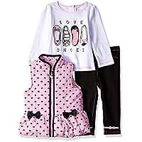 Kids Headquarters Baby Girls 3 Pieces Vest Set, Pink/Black Denim, 18M