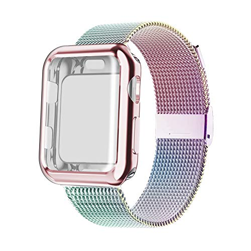 YC YANCH Compatible with Apple Watch Band 38mm 40mm 42mm 44mm with Case, Stainless Steel Mesh Loop Band with Apple Watch Screen Protector Compatible with iWatch Series 1/2/3/4/5 (Colorful, 38mm)