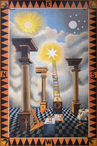 Masonic FellowCraft 2nd degree art print Poster ring Trestle Tracing Board