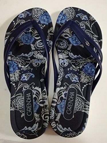 Grendha Aruba Chin Fem, Infradito Floreal Azul Donna 37
