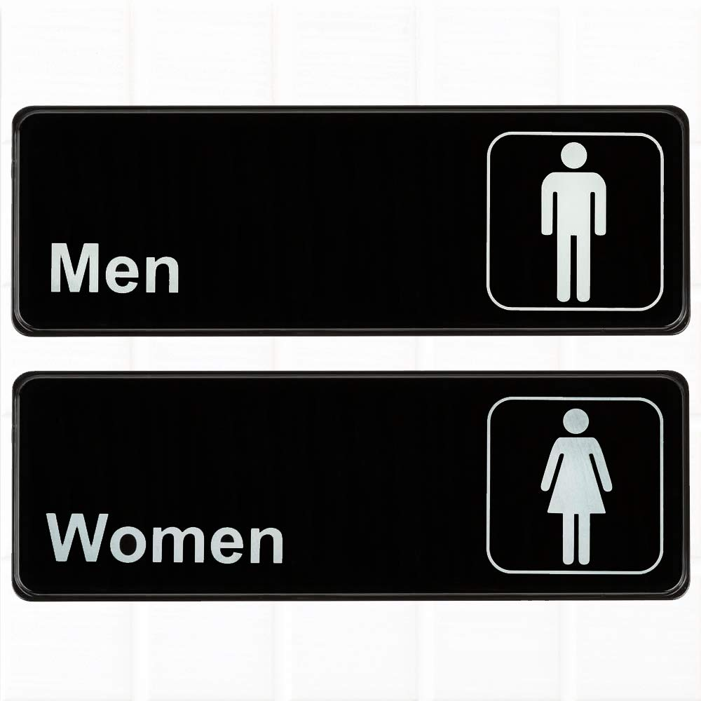 Set of 2 restroom signs mens and womens restroom signs black and white 9 x 3 inches bathroom signs restroom signs for door wall by tezzorio