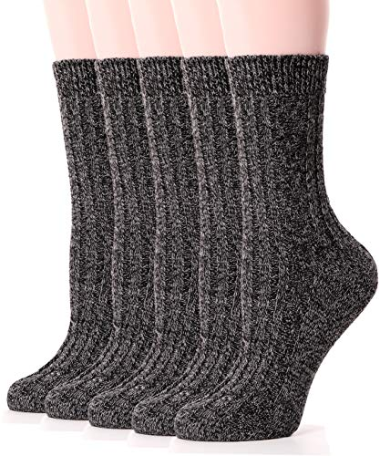 Womens Wool Socks Warm Soft Cabin Cotton Work Duty Boot Winter Socks For Cold Weather 5 Pack (Dark Grey)