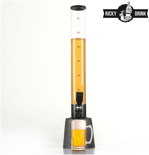 Ricky Drink Party Tower Dispensador de Bebidas, Negro, 19x22.5x85 cm